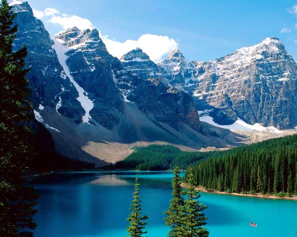 Volba: tapeta v rozlišení 1280 x 1024 - Jezero Moraine Banffův národní park v Kanadě