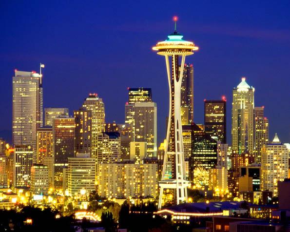 Obrázek na plochu v rozlišení 1280 x 1024 - Seattle a mrakodrapy v noci