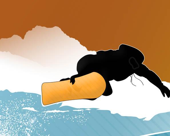 Obr�zek na plochu v rozli�en� 1280 x 1024 - Snowboardista ve k�ivk�ch