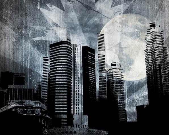 Obrázek na plochu v rozlišení 1280 x 1024 - Černobílé abstraktní město